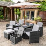 DARK GREY RATTAN 9PC CUBE SET